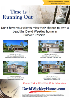 Time is Running Out! Limited David Weekley Homes Remain in Brooker Reserve