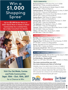 Win a $1,000 Shopping Spree* with Pulte, Centex and Del Webb Homes