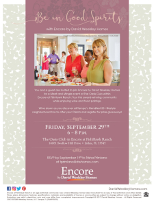 Wine Down at Encore in FishHawk Ranch with David Weekley Homes